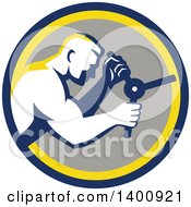 Clipart Of A Retro Muscular Man Opening A Safe In A Blue Yellow And Gray Circle Royalty Free Vector Illustration