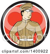Clipart Of A Retro Cartoon World War One British Officer Soldier In A Black White And Red Circle Royalty Free Vector Illustration