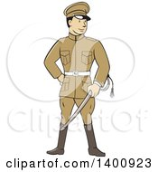 Clipart Of A Retro Cartoon World War One British Officer Soldier Holding A Sword Royalty Free Vector Illustration