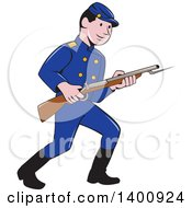 Clipart Of A Retro Cartoon American Civil War Union Army Soldier Holding A Rifle With Bayonet Royalty Free Vector Illustration