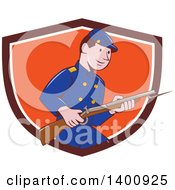 Clipart Of A Retro Cartoon American Civil War Union Army Soldier Holding A Rifle With Bayonet Emerging From A Shield Royalty Free Vector Illustration by patrimonio