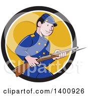 Clipart Of A Retro Cartoon American Civil War Union Army Soldier Holding A Rifle With Bayonet Emerging From A Black White And Yellow Circle Royalty Free Vector Illustration