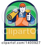 Clipart Of A Retro Male Carpet Layer Giving A Thumb Up And Carrying A Roll In A Green Blue And Yellow Frame Royalty Free Vector Illustration by patrimonio