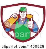 Clipart Of A Retro Male Carpet Layer Giving A Thumb Up And Carrying A Roll In A Shield Royalty Free Vector Illustration