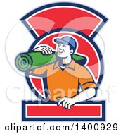 Clipart Of A Retro Male Carpet Layer Carrying A Roll In A Blue White And Red Frame Royalty Free Vector Illustration by patrimonio