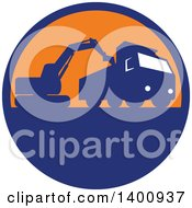 Clipart Of A Retro Silhouetted Mechanical Digger Excavator Loading A Dump Truck In A Blue And Orange Circle Royalty Free Vector Illustration by patrimonio