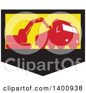 Clipart Of A Retro Silhouetted Mechanical Digger Excavator Loading A Dump Truck In A Black Yellow And Red Shield Royalty Free Vector Illustration