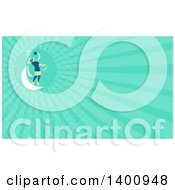 Clipart Of A Retro Female Volleyball Player Jumping And Spiking The Ball And Turquoise Rays Background Or Business Card Design Royalty Free Illustration