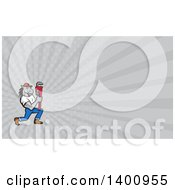 Cartoon Muscular Horse Man Plumber Holding A Monkey Wrench And Gray Rays Background Or Business Card Design