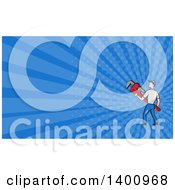 Retro Cartoon White Male Plumber Holding A Giant Monkey Wrench And Plumber Rays Background Or Business Card Design