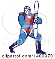 Clipart Of A Retro WWI Aviatior Pilot Holding A Propeller Royalty Free Vector Illustration by patrimonio