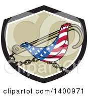 Clipart Of A Towing J Hook And American Flag In A Black White And Tan Shield Royalty Free Vector Illustration