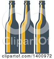 Clipart Of A Retro Row Of Long Neck Beer Bottles Royalty Free Vector Illustration