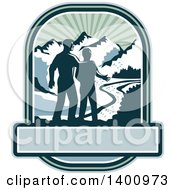 Clipart Of A Retro Silhouetted Father And Son With A View Of A River And Mountains Over A Banner Royalty Free Vector Illustration by patrimonio