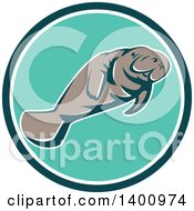 Clipart Of A Retro Manatee Swimming In A Teal White And Turquoise Circle Royalty Free Vector Illustration