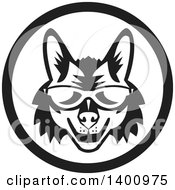 Clipart Of A Retro Black And White Coyote Face Wearing Sunglasses In A Circle Royalty Free Vector Illustration