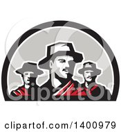 Clipart Of A Group Of Three Gaucho Cattle Ranchers In A Half Circle Royalty Free Vector Illustration by patrimonio
