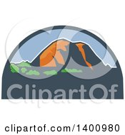 Clipart Of A Retro Landscape Of Mountains In A Half Circle Royalty Free Vector Illustration