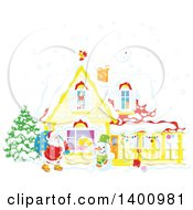 Clipart Of A Christmas House With A Snowman And Santa Claus Carrying A Sack In The Snow Royalty Free Vector Illustration