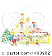 Clipart Of A Christmas House With A Cartoon Snowman And Santa Claus Carrying A Sack In The Snow Royalty Free Vector Illustration