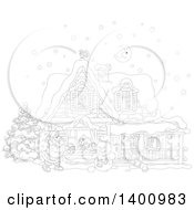 Clipart Of A Black And White Lineart Christmas House With A Snowman And Santa Claus Carrying A Sack In The Snow Royalty Free Vector Illustration