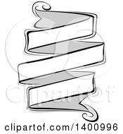 Clipart Of A Blank Grayscale Ribbon Banner Design Element Royalty Free Vector Illustration