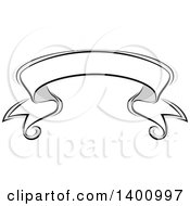 Clipart Of A Blank Grayscale Ribbon Banner Design Element Royalty Free Vector Illustration by dero