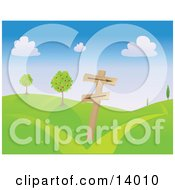 Directional Pole With Arrow Signs Pointing Different Ways On A Green Hilly Landscape With Apple Trees Clipart Illustration