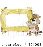 Clipart Of A Blank Wood Frame With A Beaver Royalty Free Vector Illustration by dero