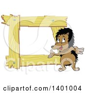 Clipart Of A Blank Wood Frame With A Hedgehog Royalty Free Vector Illustration by dero