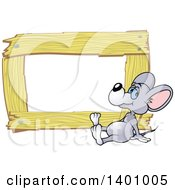 Clipart Of A Blank Wood Frame With A Mouse Royalty Free Vector Illustration by dero