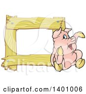 Blank Wood Frame With A Pig