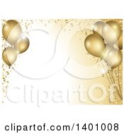 Clipart Of A Background Of 3d Gold Party Balloons And Confetti Around Text Space Royalty Free Vector Illustration by dero