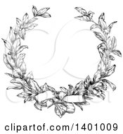 Clipart Of A Black And White Vintage Laurel Wreath And Bow Royalty Free Vector Illustration by BestVector