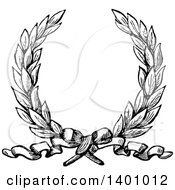 Clipart Of A Black And White Vintage Laurel Wreath And Ribbon Royalty Free Vector Illustration by BestVector