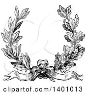 Clipart Of A Black And White Vintage Laurel And Oak Wreath Royalty Free Vector Illustration by BestVector