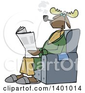 Clipart Of A Cartoon Moose Smoking A Pipe And Reading A Newspaper In A Chair Royalty Free Vector Illustration