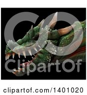 Clipart Of A 3d Dragon Head In Profile On A Black Background Royalty Free Illustration by Leo Blanchette