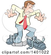 Clipart Of A Cartoon Caucasian Business Man With Big Shoes To Fill Royalty Free Vector Illustration