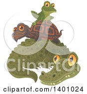 Clipart Of A Cute Frog Resting On A Tortoise O Top Of An Alligator Royalty Free Vector Illustration