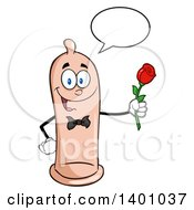 Clipart Of A Cartoon Romantic Condom Mascot Character Talking And Holding A Rose Royalty Free Vector Illustration