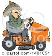 Clipart Of A Chubby Cowboy Riding An Orange Lawn Mower Royalty Free Vector Illustration