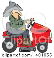 Chubby Cowboy Riding A Red Lawn Mower