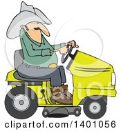 Clipart Of A Chubby Cowboy Riding A Yellow Lawn Mower Royalty Free Vector Illustration