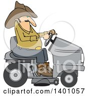 Clipart Of A Chubby Cowboy Riding A Gray Lawn Mower Royalty Free Vector Illustration