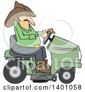 Clipart Of A Chubby Cowboy Riding A Green Lawn Mower Royalty Free Vector Illustration