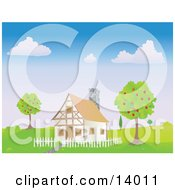 Chalet House With A White Picket Fence Between Two Apple Trees In The Spring Clipart Illustration by Rasmussen Images #COLLC14011-0030