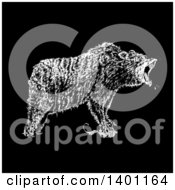 Clipart Of A Black And White Angry Bear Roaring Royalty Free Vector Illustration