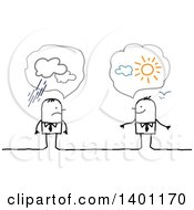Clipart Of Optimistic And Pessimistic Stick Business Men Royalty Free Vector Illustration