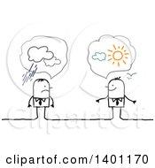 Poster, Art Print Of Optimistic And Pessimistic Stick Business Men